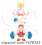 Clipart Still Rings Gymnast Swimmer And Bodybuilder Royalty Free Vector Illustration by Alex Bannykh