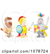 Clipart Caveman Soldier And Knight Royalty Free Vector Illustration by Alex Bannykh