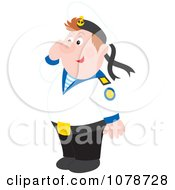 Clipart Saluting Sailor Royalty Free Vector Illustration by Alex Bannykh