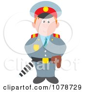 Clipart Policeman Standing With A Club Behind His Back Royalty Free Vector Illustration by Alex Bannykh