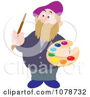 Clipart Artist Holding Paints On A Palette Royalty Free Vector Illustration by Alex Bannykh