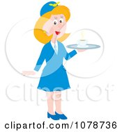 Clipart Female Flight Attendant Serving Coffee Royalty Free Vector Illustration