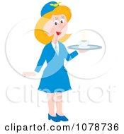 Clipart Female Flight Attendant Serving Coffee Royalty Free Vector Illustration