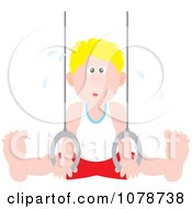 Clipart Sweaty Gymnast Man On The Rings Royalty Free Vector Illustration by Alex Bannykh
