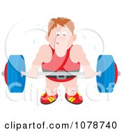Clipart Sweaty Bodybuilder Lifting A Barbell Royalty Free Vector Illustration by Alex Bannykh
