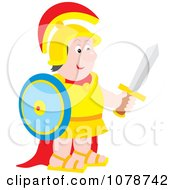 Clipart Soldier Holding A Shield And Sword Royalty Free Vector Illustration by Alex Bannykh