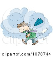 Clipart Toon Guy Walking Through A Strong Rain Storm Royalty Free Vector Illustration