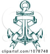 Clipart Teal Nautical Anchor And Banner Logo 3 Royalty Free Vector Illustration