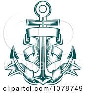 Clipart Teal Nautical Anchor And Banner Logo 4 Royalty Free Vector Illustration