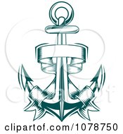 Clipart Teal Nautical Anchor And Banner Logo 1 Royalty Free Vector Illustration