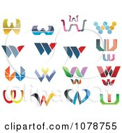 Clipart Abstract Letter W Logos Royalty Free Vector Illustration
