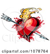 Clipart Bloody Flaming Heart Hit With Cupids Arrow 2 Royalty Free Vector Illustration