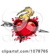 Clipart Bloody Flaming Heart Hit With Cupids Arrow 1 Royalty Free Vector Illustration