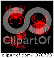 Clipart Red Spider Designs On Black Royalty Free Vector Illustration