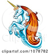 Clipart Rearing Unicorn With Orange Hair Logo Royalty Free Vector Illustration