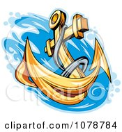 Clipart Golden Anchor Splashing Into Water Royalty Free Vector Illustration