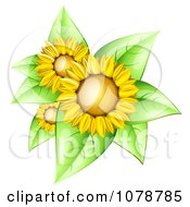 3d Shiny Sunflowers With Bright Green Leaves