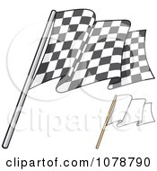 Clipart Checkered And Blank Flags 1 Royalty Free Vector Illustration by Any Vector