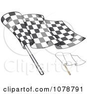 Clipart Checkered And Blank Flags 2 Royalty Free Vector Illustration by Any Vector