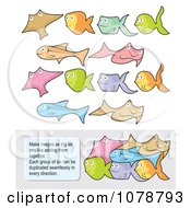 Clipart Set Of Colorful Fish Which Fit Together And Instructions Royalty Free Vector Illustration by Any Vector