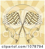 Clipart Two Checkered Racing Flags With A Circular Banner Over Grungy Rays Royalty Free Vector Illustration by Any Vector