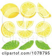 Clipart Pieces Of Lemon Wedges With Leaves Royalty Free Vector Illustration