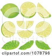 Pieces Of Lime Wedges With Leaves
