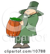 Happy St Paddy's Day Leprechuan Carrying a Barrel of Clovers