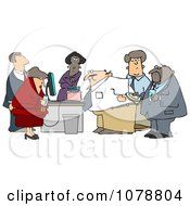 Clipart Businessman Blowing Out The Candles On His Cake At An Office Birthday Party Royalty Free Illustration by djart