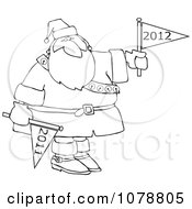 Clipart Outlined Santa Holding 2011 And 2012 New Year Flags Royalty Free Vector Illustration by djart