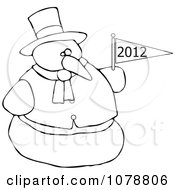 Clipart Outlined Snowman Holding A New Year 2012 Flag Royalty Free Vector Illustration by Dennis Cox
