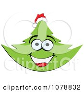 Clipart Happy Christmas Tree Wearing A Santa Hat Royalty Free Vector Illustration by Andrei Marincas