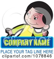 Clipart Boy And Sample Text Logo Royalty Free Vector Illustration