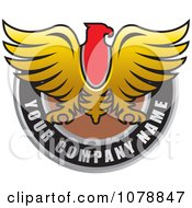 Clipart Golden Falcon Over A Black Circle Logo Royalty Free Vector Illustration