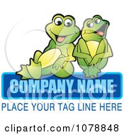 Clipart Laughing Frogs And Sample Text Logo Royalty Free Vector Illustration