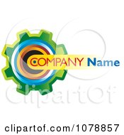 Clipart Colorful Gear Cog And Sample Text Logo Royalty Free Vector Illustration
