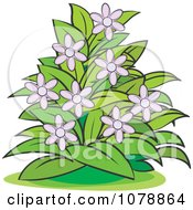 Clipart Bush With Purple Flowers Royalty Free Vector Illustration