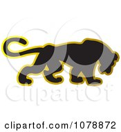 Clipart Black And Gold Panther Logo Royalty Free Vector Illustration