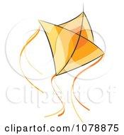 Clipart Flying Orange Kite Royalty Free Vector Illustration