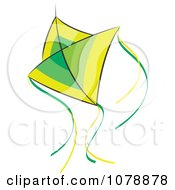 Clipart Flying Green And Yellow Kite Royalty Free Vector Illustration