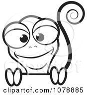 Clipart Happy Black And White Lizard Royalty Free Vector Illustration