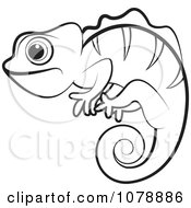 Clipart Outlined Chameleon Lizard Royalty Free Vector Illustration by Lal Perera #COLLC1078886-0106