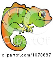 Clipart Green And Orange Chameleon Lizard Royalty Free Vector Illustration