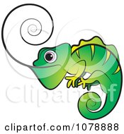 Clipart Green Chameleon Lizard With A Spiral Tongue Royalty Free Vector Illustration