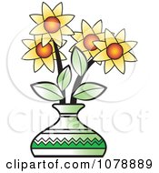 Clipart Vase Of Yellow Flowers Royalty Free Vector Illustration