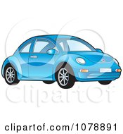 Clipart Shiny Blue VW Bug Car Royalty Free Vector Illustration by Lal Perera