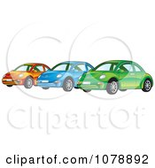 Clipart Shiny Orange Blue And Green VW Bug Cars Royalty Free Vector Illustration