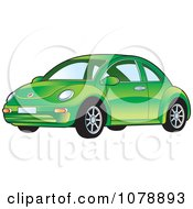 Clipart Shiny Green VW Bug Car Royalty Free Vector Illustration by Lal Perera
