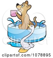 Clipart Goose By A Dog Holding A Cup In A Bath Royalty Free Vector Illustration by Lal Perera