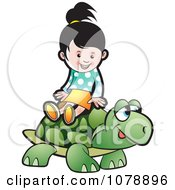 Clipart Happy Girl Riding A Tortoise Royalty Free Vector Illustration